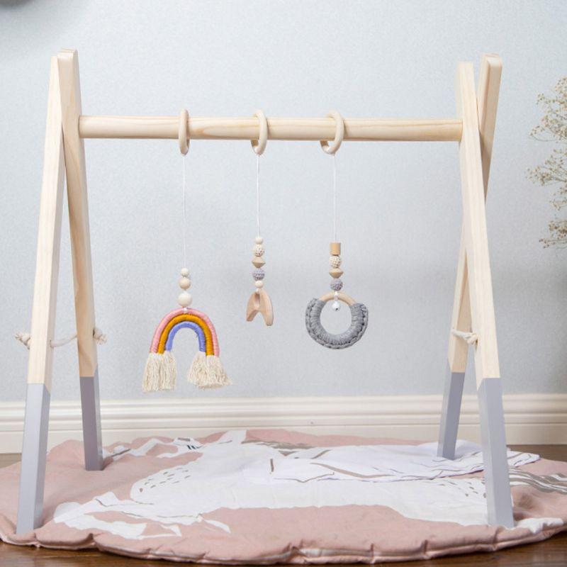 1Set Nordic Cartoon Baby Wooden Gym Fitness Frame Rack Hanging Pendant Toys Kit Toddler Infant Room Decorations