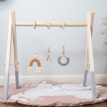 1Set Nordic Cartoon Baby Wooden Gym Fitness Frame Rack Hanging Pendant Toys Kit Toddler Infant Room Decorations - discount item  18% OFF Baby & Toddler Toys