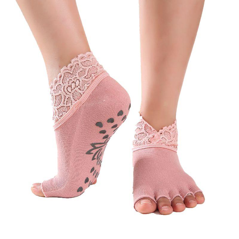 2pcs Women Yoga Anti-slip Socks Backless Silicone Anti-slip 5 Toe Socks Ladies Ballet Dance Gym Fitness Pilates Cotton Socks