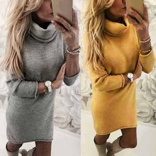 2020 Fashion lady's sweater Solid Turtleneck Sweater Long Casual Long Sleeve Pullove Dress turtleneck sueteres vestido gola alta(China)