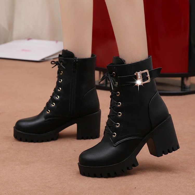 Kadın çizmeler dantel Up düz Biker savaş şarap kırmızı çizmeler ayakkabı toka kadın botas kadın Martin çizmeler rtg67