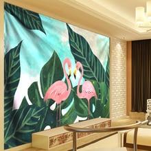 цена на Flamingo Wall Hanging Boho Decor Tropical Plant Leaves Tapestry Wall Hippie Tapestry Livingroom tapiz pared tela Mandala gobelin