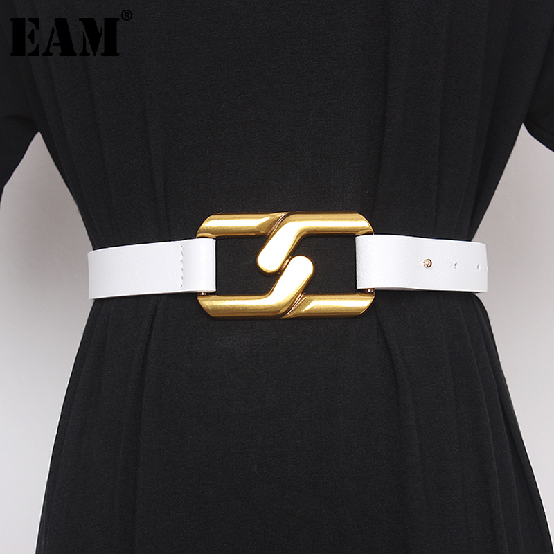 [EAM]  Pu Leather White Metal Buckle Split Joint Long Belt Personality Women New Fashion All-match Spring Autumn 2021 1DA659