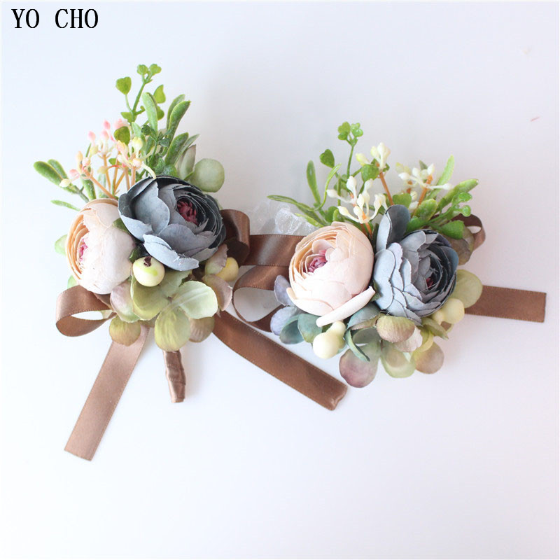 YO CHO Dropshipping Wedding Bride Bridesmaid Wrist Hand Flower Artificial Rose Decorative Christmas Corsage Party Holiday Decor
