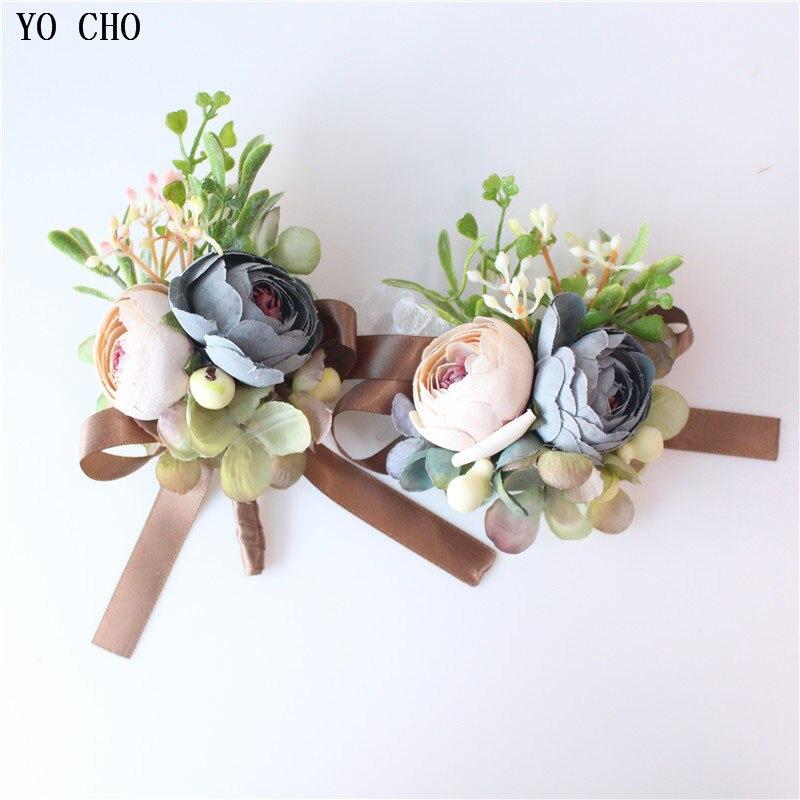 YO CHO Dropshipping Wedding Bride Bridesmaid Wrist Hand Flower Artificial Rose Decorative Christmas Corsage Party Holiday Decor