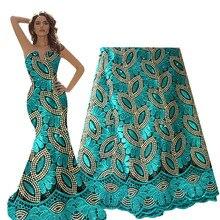 フランスのレース生地グリーンビーズアフリカレース生地 2020 高品質のレース刺繍生地ナイジェリアのウェディングドレス