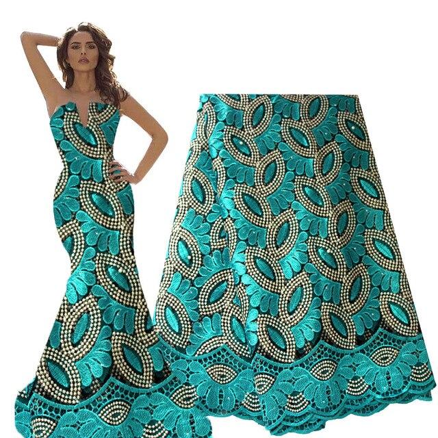 Francese Tessuto di Pizzo Teal Verde In Rilievo Tessuto Africano Del Merletto 2020 di Alta Qualità Pizzo Ricamato Tessuto per la Cerimonia Nuziale Nigeriano Abiti