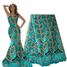 French Lace Fabric Teal Green Beaded African Lace Fabric 2020 High Quality Lace Embroidered Fabric for Nigerian Wedding Dresses