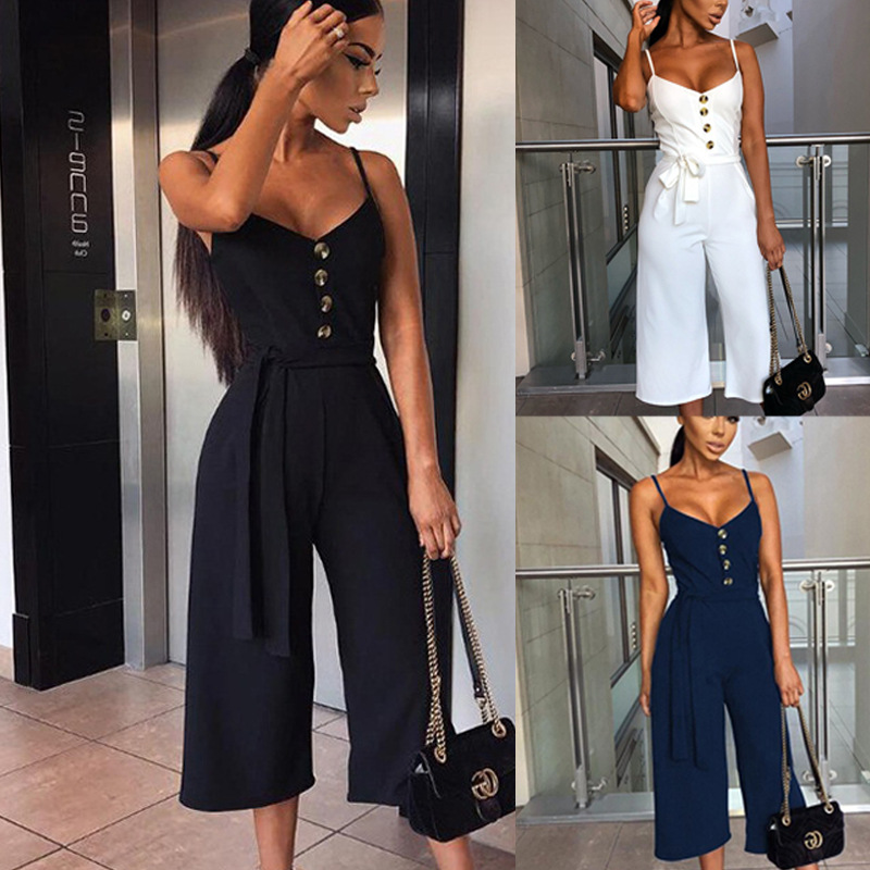 Sleeveless Sexy Lady'S Jumpsuit Summer Office Work Clothes Fashion Korean Casual Suspenders Button Lace Up Female Jumpsuit