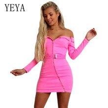 YEYA Autumn Women New Long Sleeve Slash Neck Off Shoulder Zipper Mini Dress with Belt Elegant Hollow Out Bandage Bodycon