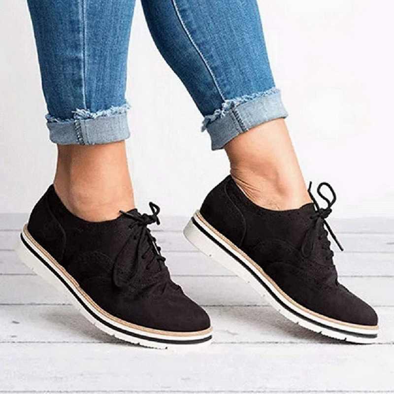 Oeak 2019 İlkbahar yaz kadın Oxford ayakkabı balerin Flats ayakkabı kadın PU deri ayakkabı Moccasins dantel loafer ayakkabılar