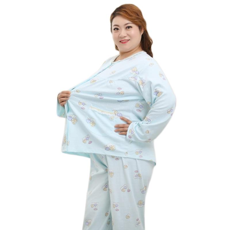 Plus Size XXXXXL Fashion Pajamas Sets Women Sleepwear Spring Cute Cartoon New 100% Cotton Long Sleeves Women Pyjamas 78223