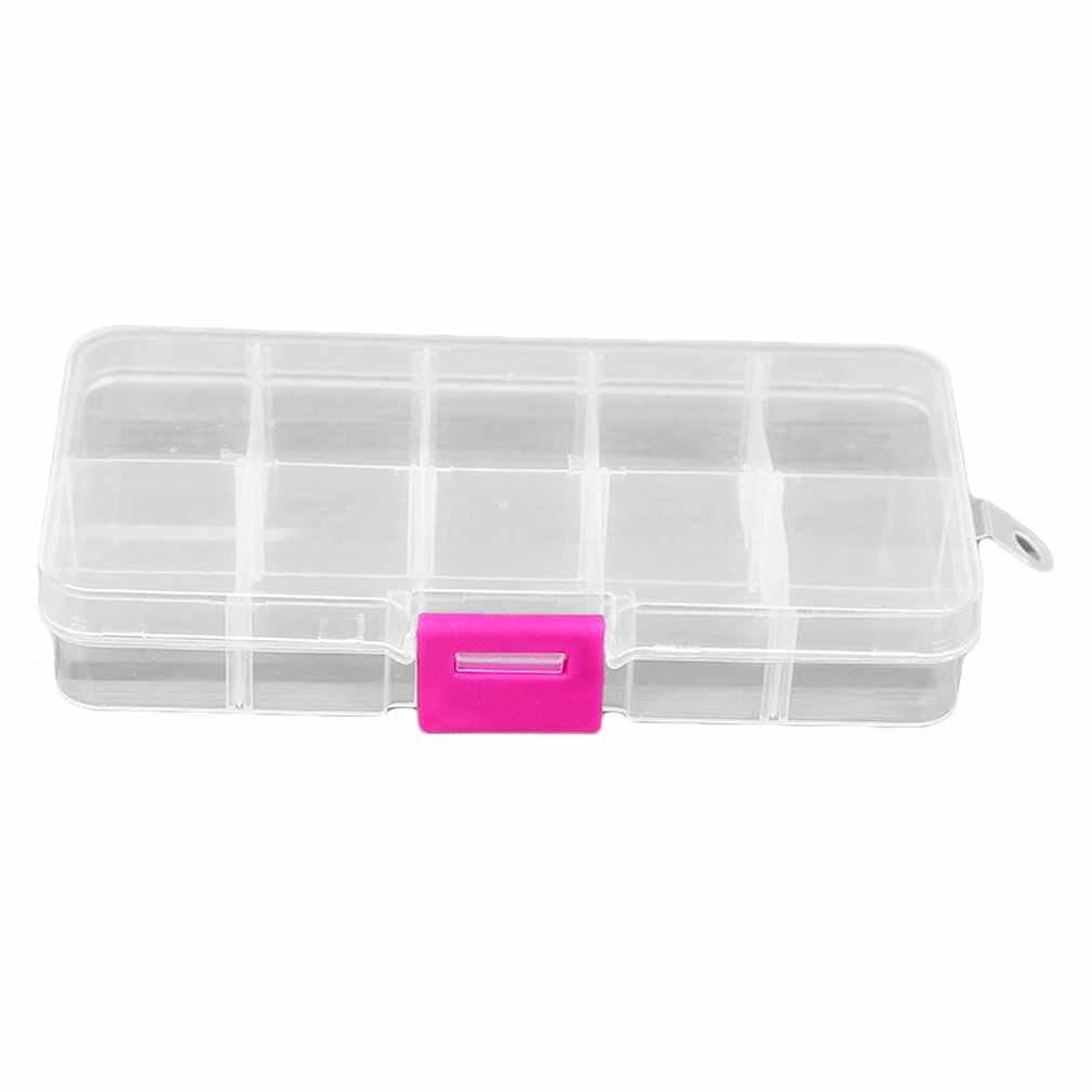 10 กริดพลาสติกกล่องสำหรับชิ้นส่วนขนาดเล็กเครื่องประดับกล่องเครื่องมือลูกปัดเม็ด Organizer เล็บเคล็ดลับ Art Case
