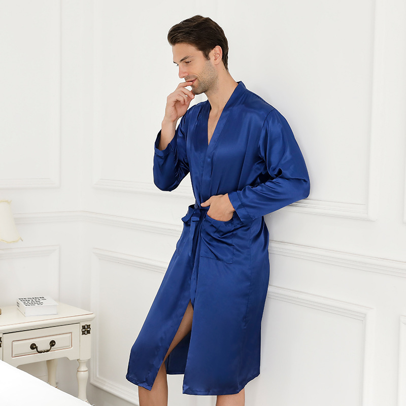 Blue Chinese Men Silk Rayon Robe Summer Casual Sleepwear V-Neck Kimono Yukata Bathrobe Gown Size M L XL XXL