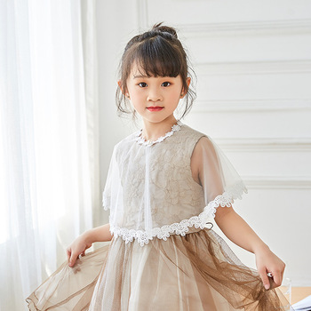 цена New style children's shoulder net Princess Cape girl lace Cape Wedding Ceremony Cape онлайн в 2017 году