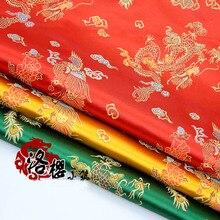 Width 90cm Red Brocade Jacquard Cloth Costume Chinese Wedding COS clothing cheongsam material Damask Satin fabric Dragon Phoenix