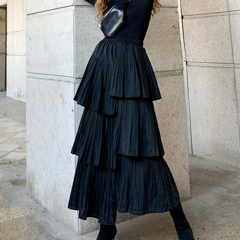 LANMREM 2020 Spring New Products Fashion High Waist Slim Multi-layer Solid Color Pleated Cake Skirt Women PA880
