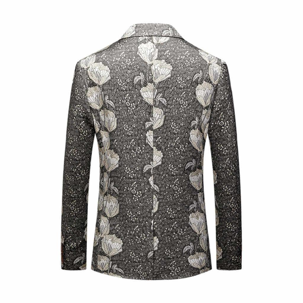 גברים של חליפת ליזר מעילי חורף וautunm גברים מזדמן עסקי חתונה ארוך שרוול הדפסת פרחוני חליפת מעיל מזדמן מעילים