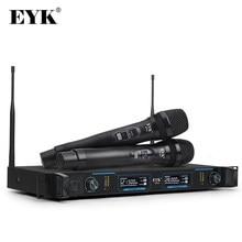 EYK EFU2 – Microphone numérique professionnel sans fil UHF, avec 2 manettes métalliques, système sans fil à deux canaux pour fête, scène de karaoké