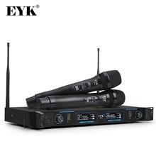 Eyk efu2 microfone sem fio digital uhf profissional com 2 handhelds de metal sistema sem fio dois canais para a fase do karaoke festa