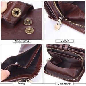 Image 5 - Flanker portefeuille 100% cuir véritable, Rfid, marque décontracté, court, porte monnaie, petits portefeuilles, fermeture éclair, sac à main