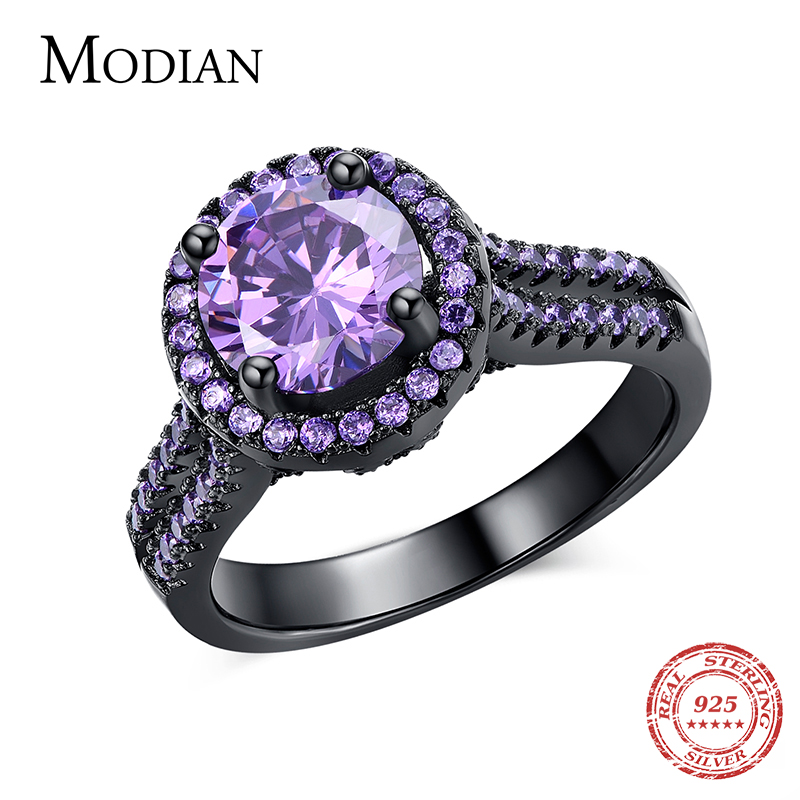 R&J 2016 Women Fashion Purple Crystal Ring 5A Zircon Jewelry 10KT Black Gold Filled Finger Rings Male Brand Wedding Engagement