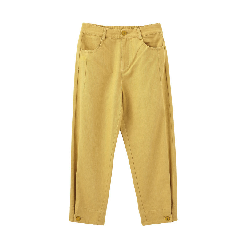 INMAN 2020 Spring New Arrival Literary Pure Color High Waist Button Leg Opening Nine-cent Turnip Women Pant