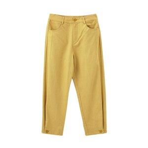 Image 1 - INMAN 2020 printemps nouveauté littéraire couleur Pure taille haute bouton jambe ouverture neuf cent navet femmes pantalon
