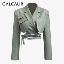 Женский Асимметричный Блейзер galcaur с вырезами длинными рукавами