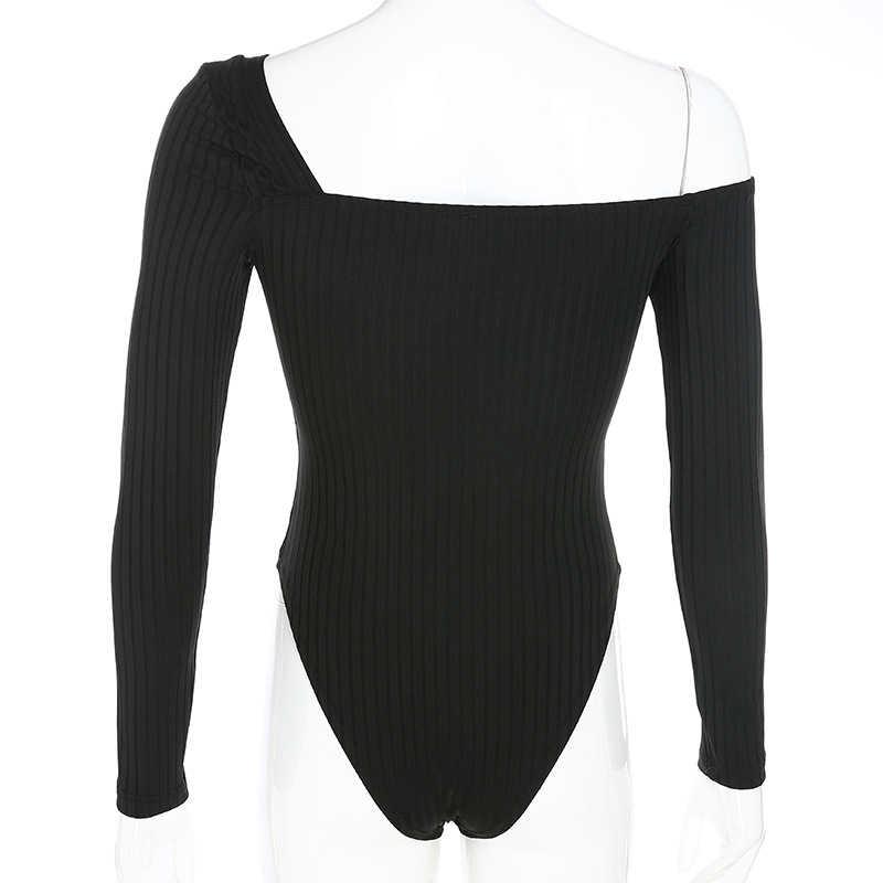 Черный с длинным рукавом Нерегулярные осень зима боди с длинным рукавом пикантное платье на одно плечо оболочка ребристые тела Mujer женское боди LX174