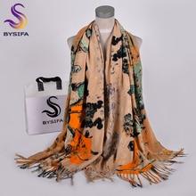Женский кашемировый шарф [BYSIFA], зеленый толстый шарф из пашмины диаметром 2019*70 см, зима 200