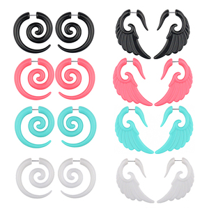 2pcs Acrylic Fake Plugs Tunnel Faux Ear Taper Gauges Swirl Wing Stud Earrings Cheater Stretcher Expander Piercing Body Jewelry(China)