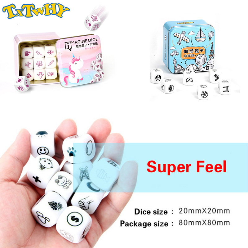 Telling Story Dice Cube Game Story Metal Boxes /Bag English Instructions Family Twisty Puzzle Brain Teaser Story Cubes