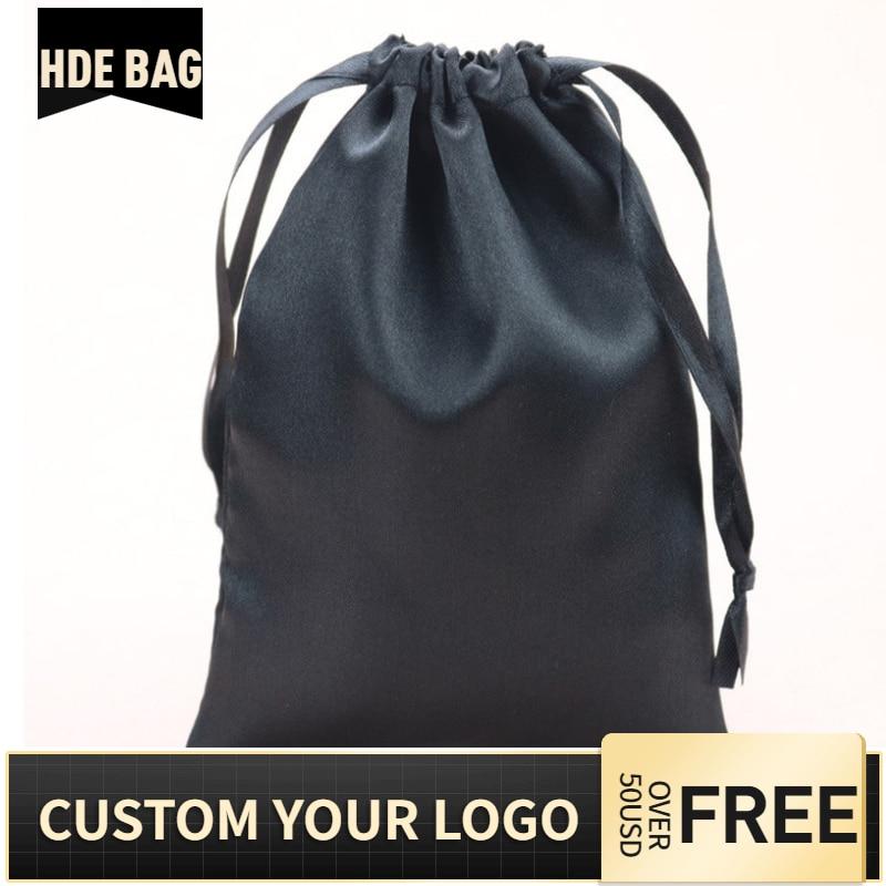 Custom Logo Silk Satin Virgin Hair Drastring Bag Jewelry / Makeup / Wedding / Party Favors Gift Packaging Pouches