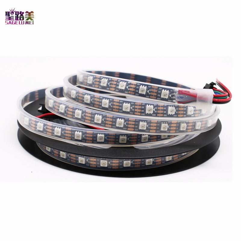 DC5V <font><b>1m</b></font>/5m WS2813 (Dual-signal wires)30/60 <font><b>leds</b></font>/m 2813 individually <font><b>led</b></font> pixel strip WS2812B Updated Black/White PCB IP30/65/67 image