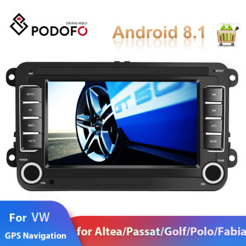Podofo 2din car radio Android 8.1 GPS Car Multimedia Player for Volkswagen 7 autoradio For VW Skoda/Golf/Polo/Passat Car Stereo image
