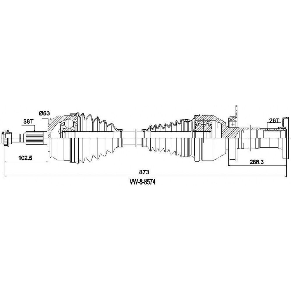 Вал привода в сборе VOLKSWAGEN Transporter V 2.5TDI 2003-2009 ODM VW88574