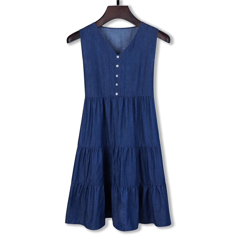 Yitonglian Women's V-neck Denim Dress Sleeveless Elegant Bottom Waisted Dresses W03