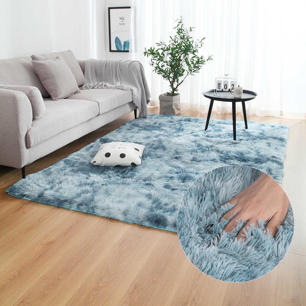 Tapis gris teinture en peluche tapis doux anti-dérapant tapis de sol chambre à coucher Absorption d'eau tapis pour salon chambre à coucher