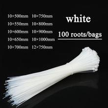 Attaches de câble à fermeture éclair 20 pouces, attaches pour pneus de fil en plastique Ultra robustes, 100 pièces, enveloppes en Nylon avec largeur de 0.4 pouces, blanc