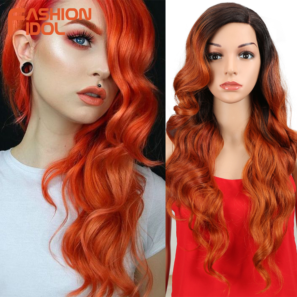 FASHION IDOL Lace Front Wig Long Synthetic Wig Ombre 613 Blonde Loose Wave Hair Synthetic Wigs For Black Women White Cosplay Wig