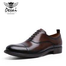 DESAI – chaussures d'affaires en cuir véritable pour hommes, souliers Oxford en cuir verni rétro dégradé, taille EU 38-47