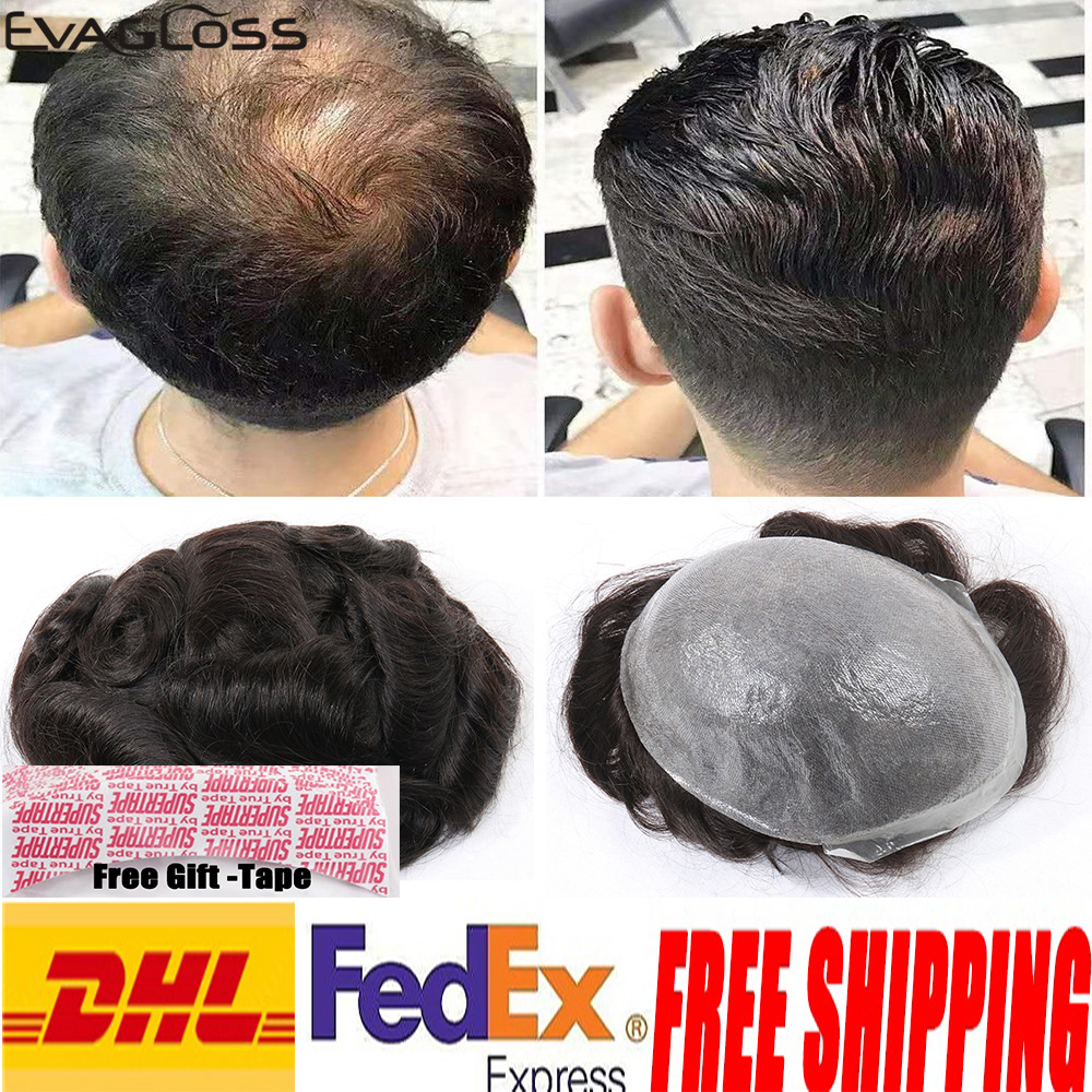 EVAGLOSS Super Thin Skin Men Toupee Strong Knot Hair Replacement Toupee Hair System For Men
