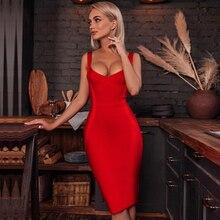 Adyce 2020 nowa letnia kobieca sukienka bandażowa czerwony niebieski Nude Sexy Spagehetti pasek Midi kombinezon w stylu celebrytek Club Party Dress Vestidos