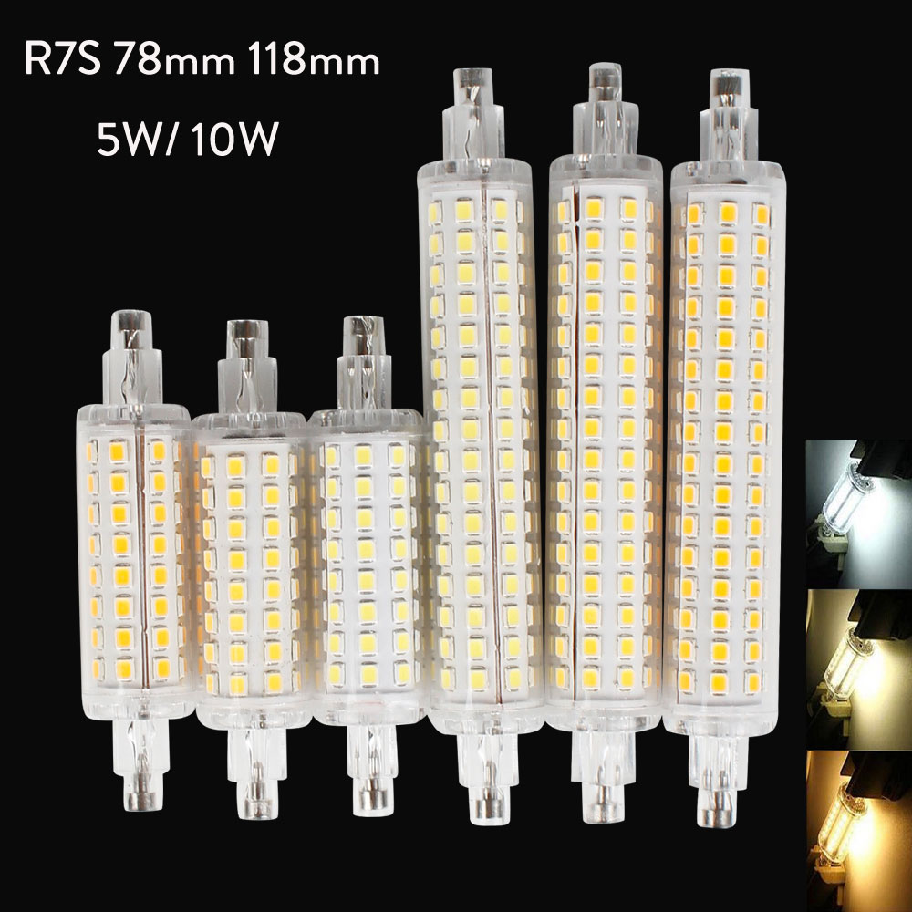 10Pcs/Lot R7S LED 78mm 118mm 5W 10W Aluminum Base Corn Light Bulb Spotlight AC 110V 220V 240V 2835 SMD LED Floodlight Bombillas|LED Bulbs & Tubes| |  - title=