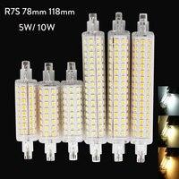 10Pcs/Lot R7S LED 78mm 118mm 5W 10W Aluminum Base Corn Light Bulb Spotlight AC 110V 220V 240V 2835 SMD LED Floodlight Bombillas