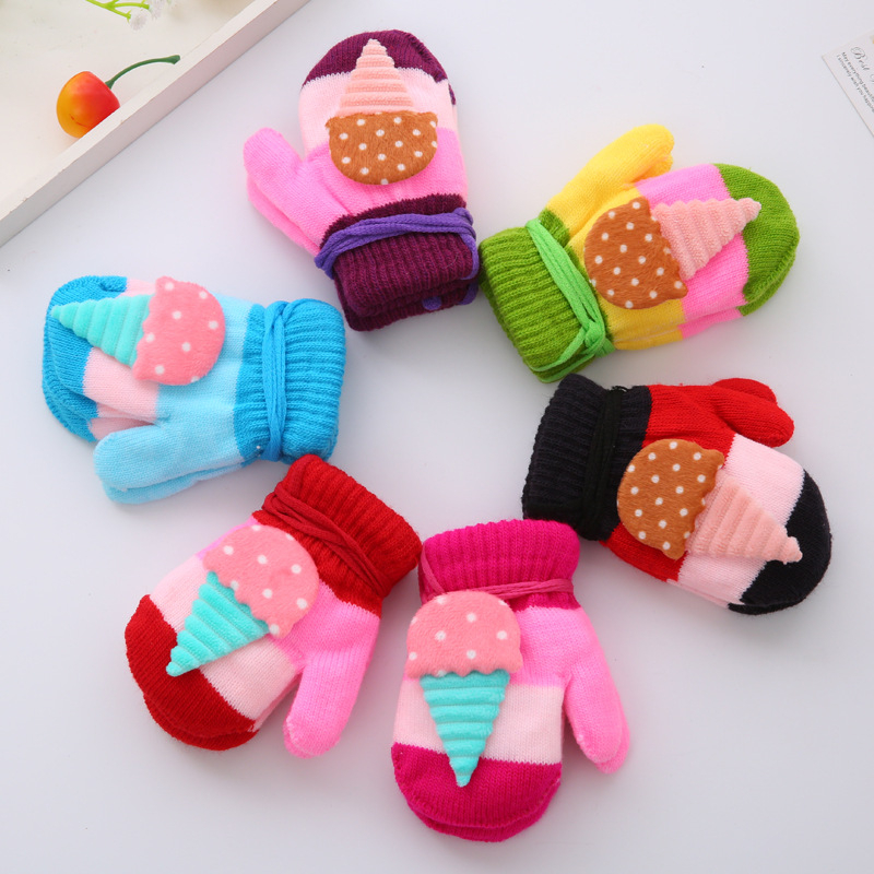 Thicken Warm Winter Gloves Infant Baby Boys Girls Cute Cartoon Mitten S