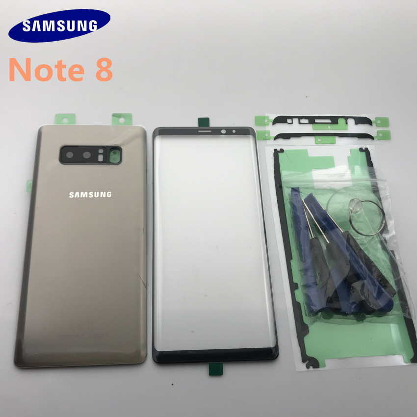 Original Samsung Galaxy NOTE 8 N950 N950F Back Glass Cover Rear Battery Cover Door with Camera lens+Touch Screen Front Glass|Mobile Phone Housings & Frames| |  - title=