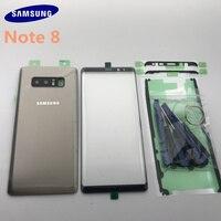 Original samsung galaxy note 8 n950 n950f voltar vidro capa traseira da bateria porta com lente da câmera + tela de toque vidro frontal|Estojos de celular| |  -