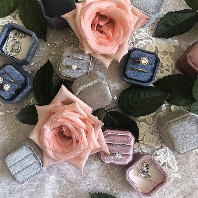 6 Color Velvet Double Ring Box Octagon Wedding Ceremony Ring Box With Detachable Lid